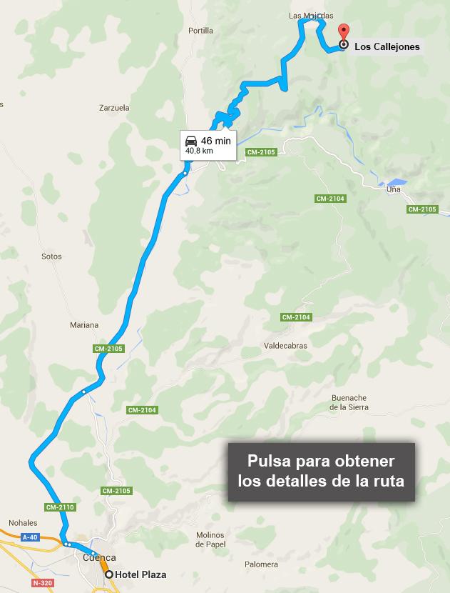 Ruta desde Cuenca hasta Los Callejones