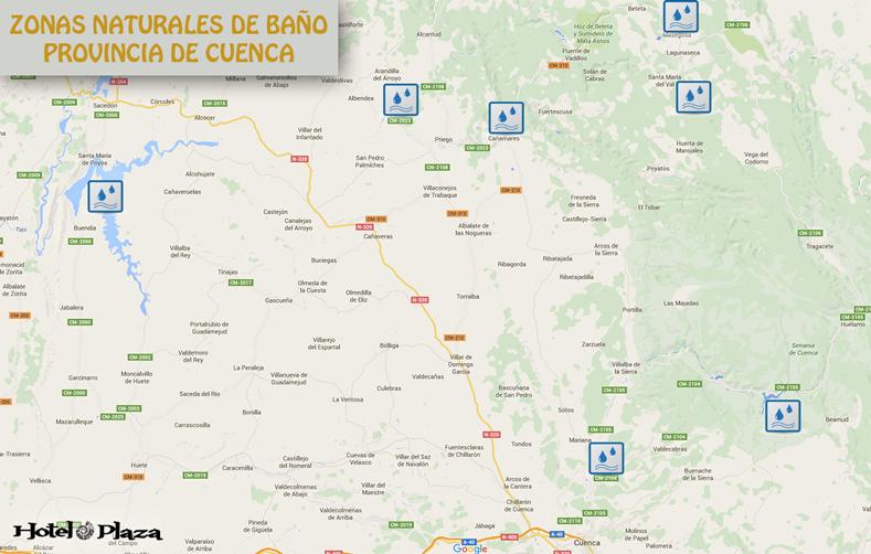 Mapa zonas de baño de Cuenca